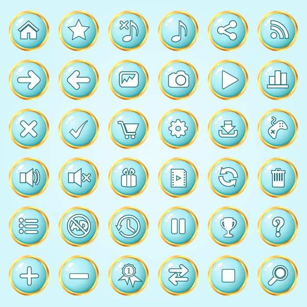 Knoppen cirkel kleur blauwe hemel rand gouden icon set voor games. Premium Vector