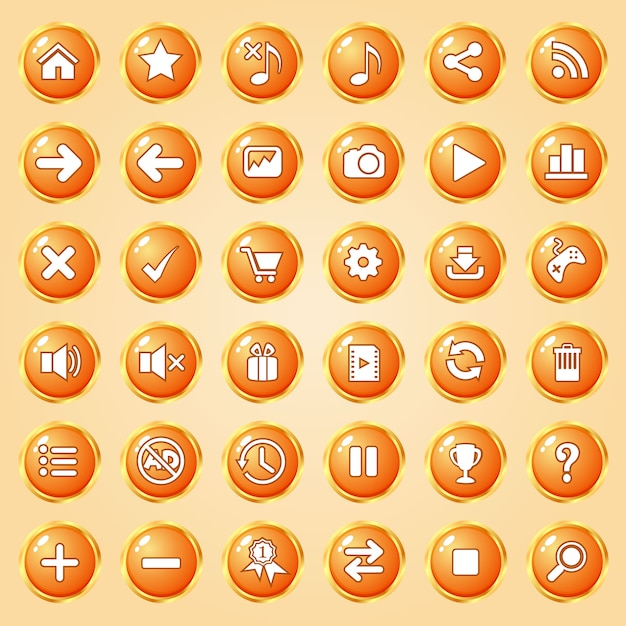 Knoppen cirkel kleur oranje rand goud icon set voor games. Premium Vector