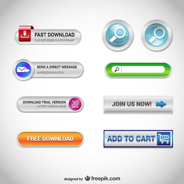 Knoppen voor het web gratis set Gratis Vector