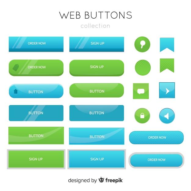 Knoppen voor het web in verloopstijl Gratis Vector