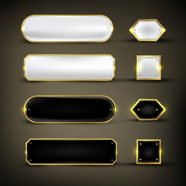 Knopset kleur goud glanzend Premium Vector