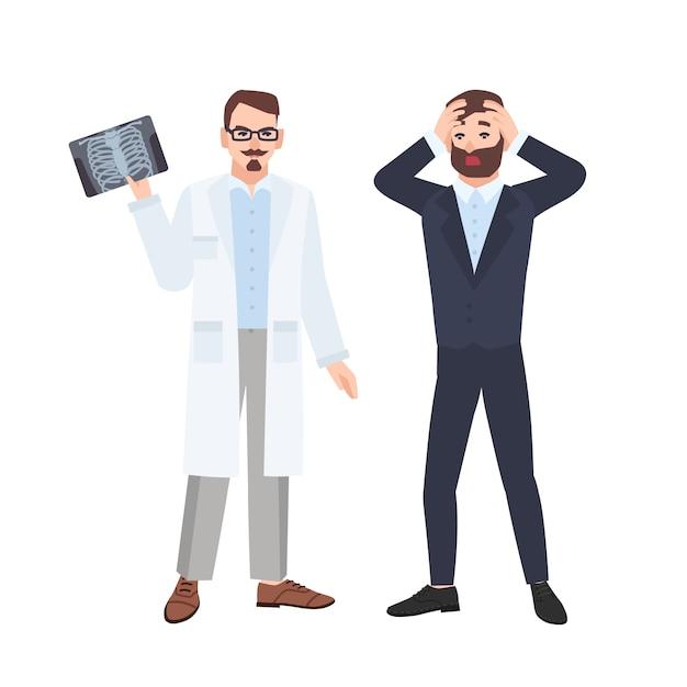 Knorrige mannelijke arts of radioloog die röntgenfoto van ribbenkast aantoont om bang patiënt en hem te informeren over zijn diagnose. medisch consult en diagnostiek. flat cartoon illustratie. Premium Vector