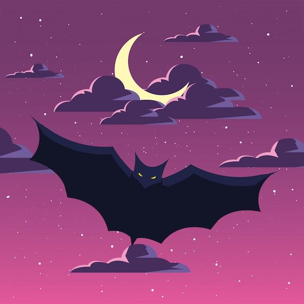 Knuppels die in scène van halloween vliegen Premium Vector