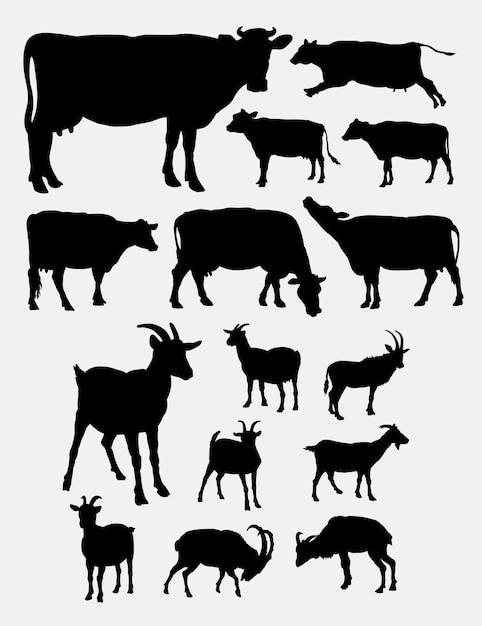 Koe en geit boerderij dieren silhouet Premium Vector