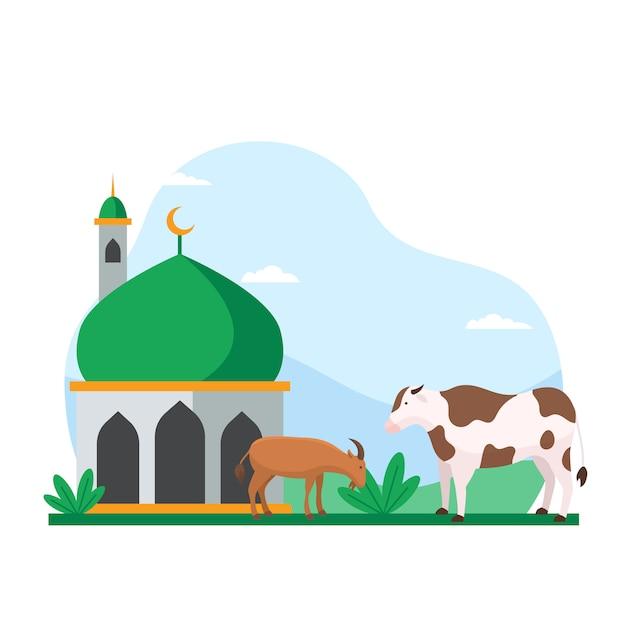 Koe en geit op de binnenplaats van de moskee voor qurban vectorillustratie voor eid al adha islamitische vakantie Premium Vector