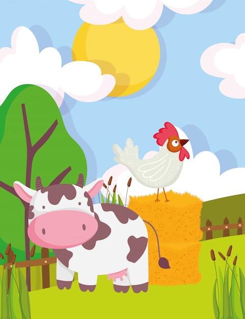 Koe en haan op hooi bomen vegetatie hek boerderij dieren cartoon afbeelding Premium Vector