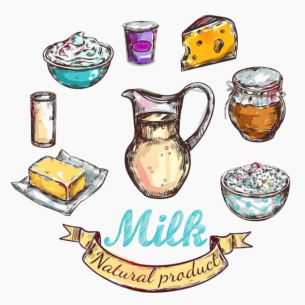 Koe en natuur melk kleur schets Gratis Vector