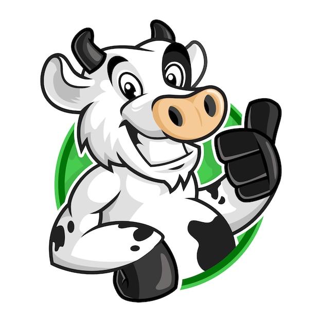 Koe mascotte logo, vector cartoon van koe karakter voor logo sjabloon Premium Vector
