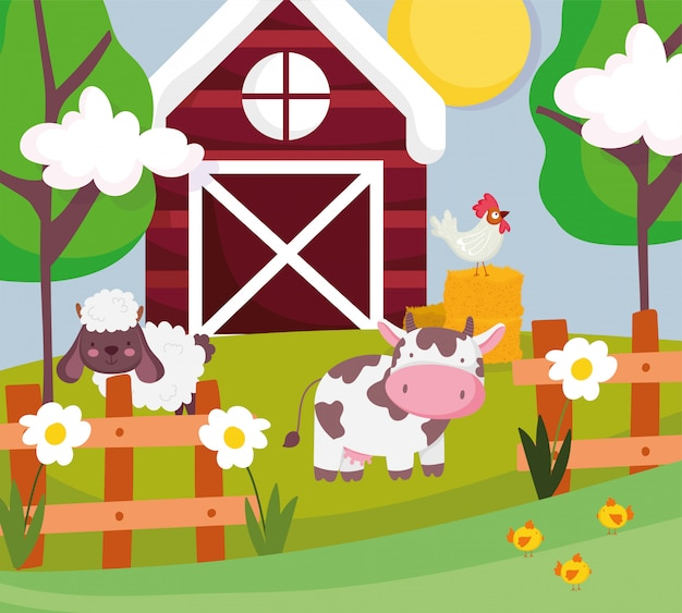 Koe schapen en haan in hooi schuur hek bomen boerderij dieren Premium Vector