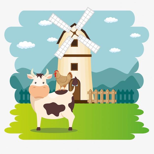 Koeien in de boerderij scène Gratis Vector