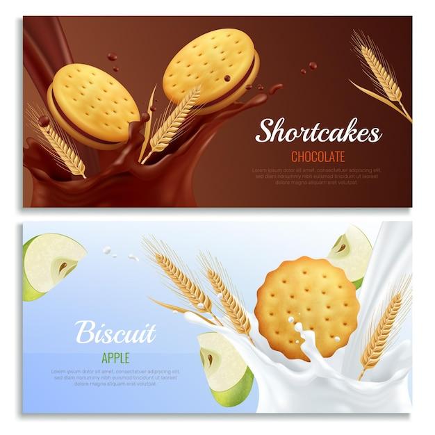 Koekjes realistische horizontale die banners met geïsoleerde appel en chocoladesmaaksymbolen worden geplaatst Gratis Vector