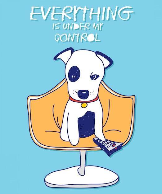 Koel hond vectorontwerp voor t-shirtdruk Premium Vector