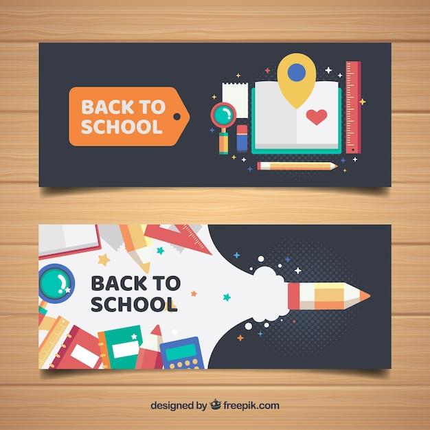 Koele banners met schoolmaterialen in vlakke vormgeving Gratis Vector