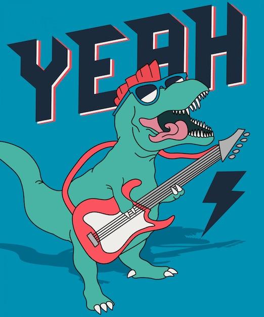 Koele dinosaurus die gitaar speelt Premium Vector
