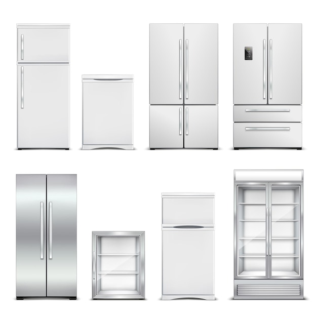 Koelkast koelkast realistische set geïsoleerde kasten met verschillende modellen en deurvormen op blanco Gratis Vector