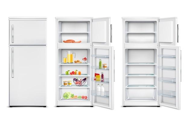 Koelkast koelkast realistische set geïsoleerde koelcellen met producten open en gesloten deur Gratis Vector