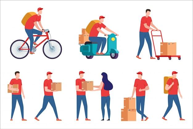 Koerier aflevering. express bezorgservice op scooter en fiets. postbode met pakketbestelling vanuit huis. koerier met pizzadoos bezorgt thuis. bezorger met doos op witte achterzijde. Premium Vector