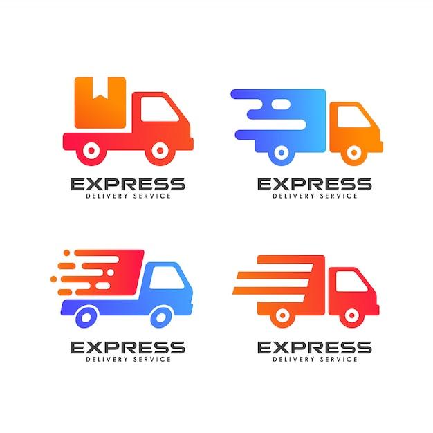 Koerier logo ontwerpsjabloon. verzending logo ontwerp pictogram vector Premium Vector
