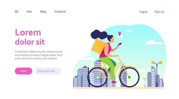 Koerier met fiets en adres op telefoon controleren. vrouw die bestelling levert, cel met kaartwebsjabloon gebruikt. Gratis Vector