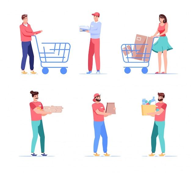 Koeriers en klanten cartoon personen personages set. man vrouw klant winkelwagentje kar, bezorger uitvoering pakket, voedsel, kruidenier pakket duwen. fastfood bezorging, afhaalservice Premium Vector