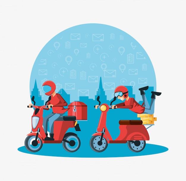 Koeriersmensen van de logistieke dienst in motorfiets Premium Vector