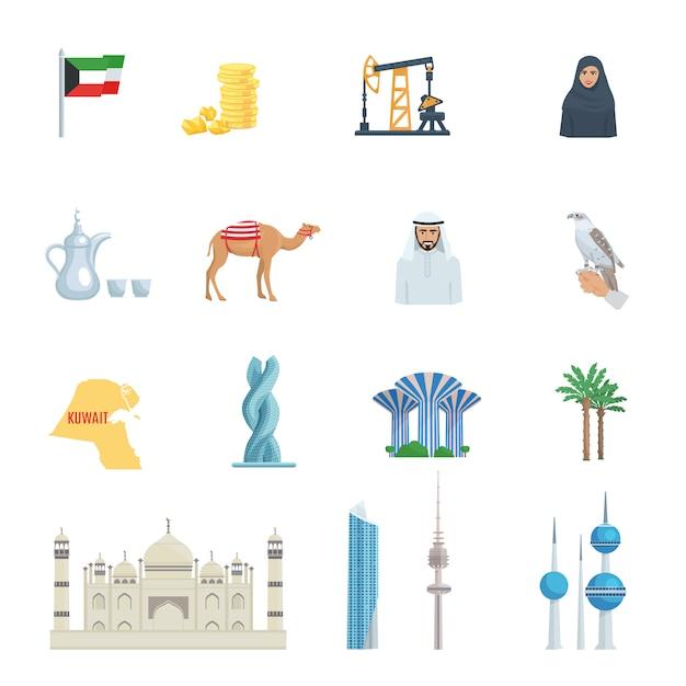 Koeweit cultuur platte pictogrammenset met traditionele symbolen kostuums gebouwen en dieren vector illustratie Premium Vector
