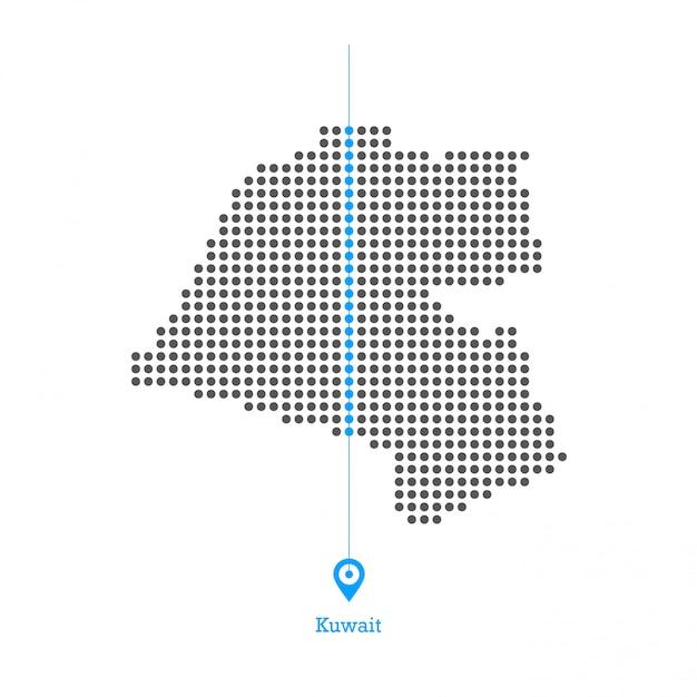 Koeweit doted kaart ontwerp vector Premium Vector