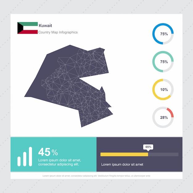 Koeweit kaart & vlag infographics sjabloon Premium Vector