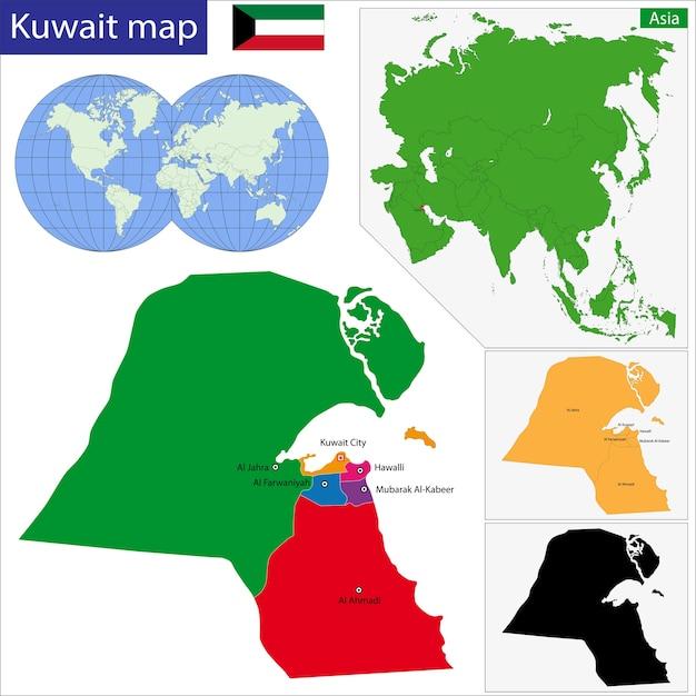 Koeweit kaart Premium Vector