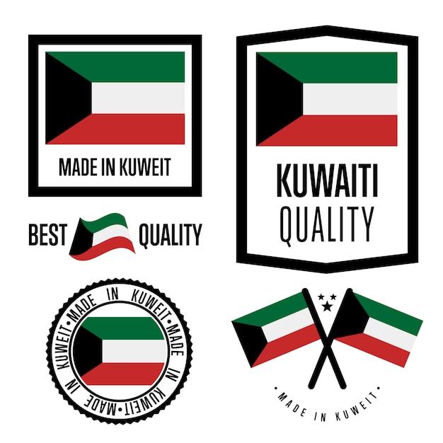 Koeweit kwaliteitslabel set Premium Vector