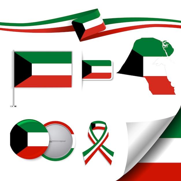 Koeweit representatieve elementen collectie Gratis Vector