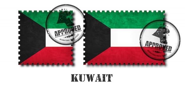 Koeweit vlag patroon postzegel Premium Vector