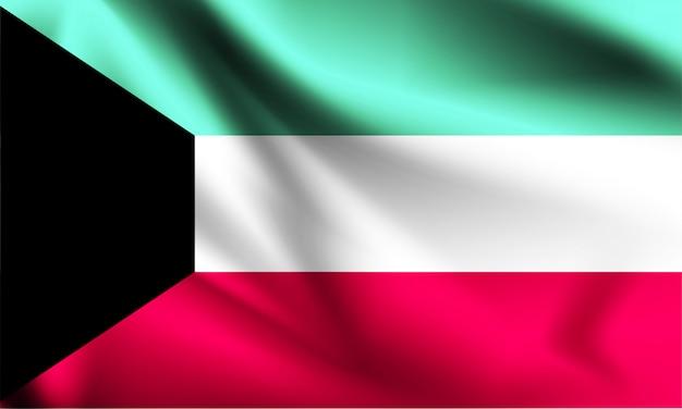 Koeweit vlag zwaaien Premium Vector