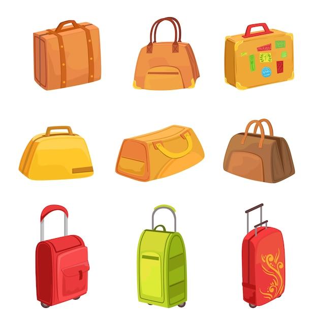 Koffers en andere bagagezakken set van pictogrammen Premium Vector