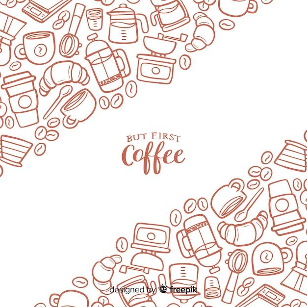Koffie achtergrond Gratis Vector