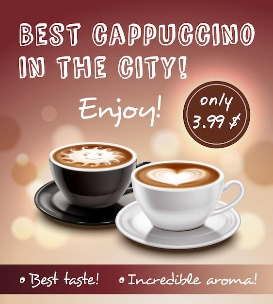 Koffie advertentie art poster Gratis Vector