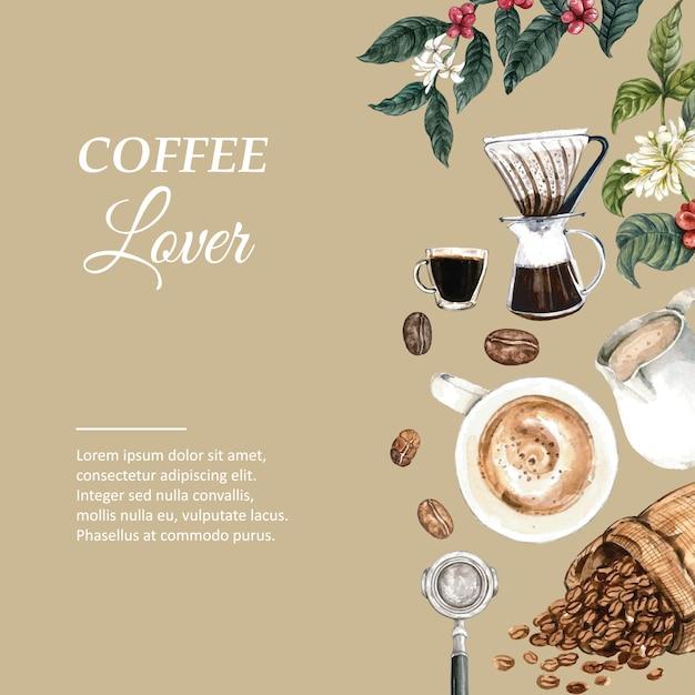 Koffie arabica bonen tas met koffiekop americano, kaneel koffiezetapparaat aquarel illustratie Gratis Vector
