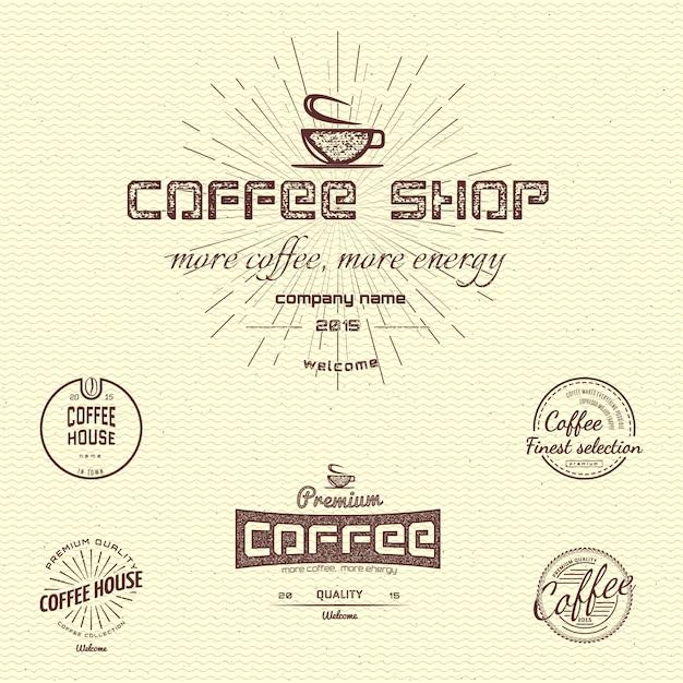 Koffie badges logo's en labels voor elk gebruik, op een witte achtergrond. Premium Vector
