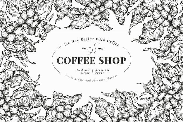 Koffie boom sjabloon voor spandoek. vector illustratie. retro koffiekader. hand getrokken gegraveerde stijl illustratie. Premium Vector