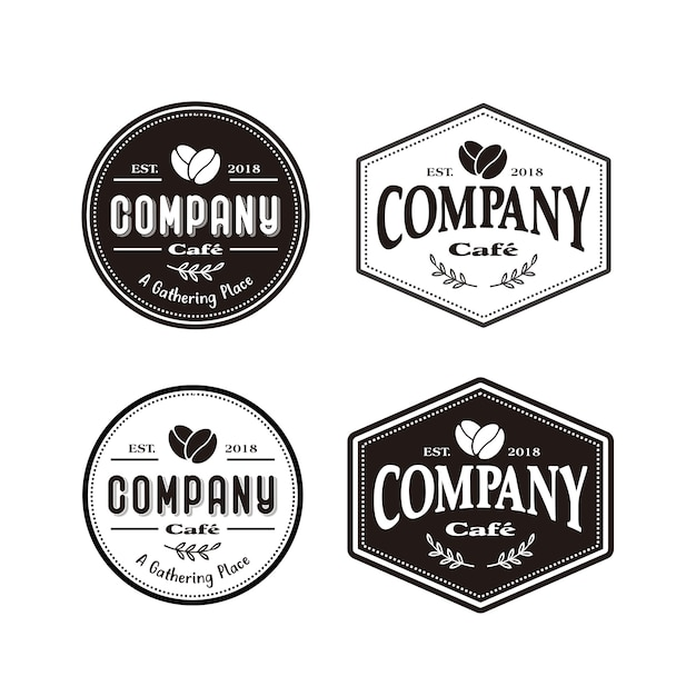 Koffie cafe-logo Premium Vector