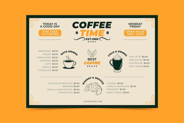 Koffie concept menusjabloon Gratis Vector
