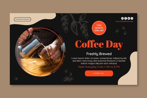 Koffie dag sjabloon voor spandoek Gratis Vector