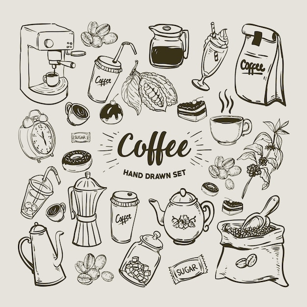 Koffie elementen collectie Premium Vector