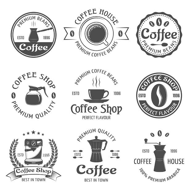 Koffie embleem set Gratis Vector