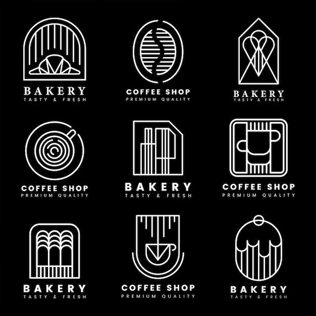 Koffie en banketbakkerij logo vector set Gratis Vector
