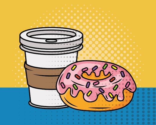 Koffie en donut pop-artstijl Gratis Vector