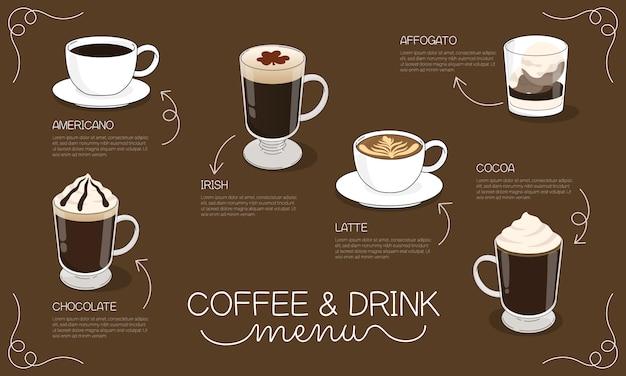 Koffie en drank menu illustratie met verschillende soorten warme koffie en drank Premium Vector