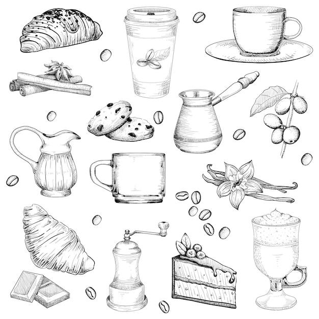 Koffie en gebak grote set schets vintage stijl. elementen op een witte geïsoleerde achtergrond Premium Vector