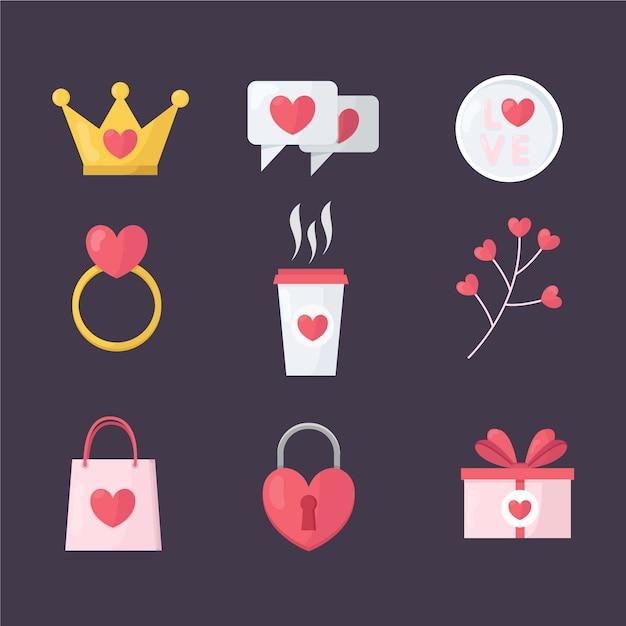 Koffie en geschenken platte valentijn element collectie Gratis Vector