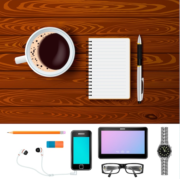 Koffie en kladblok op houten tafelsamenstelling Gratis Vector